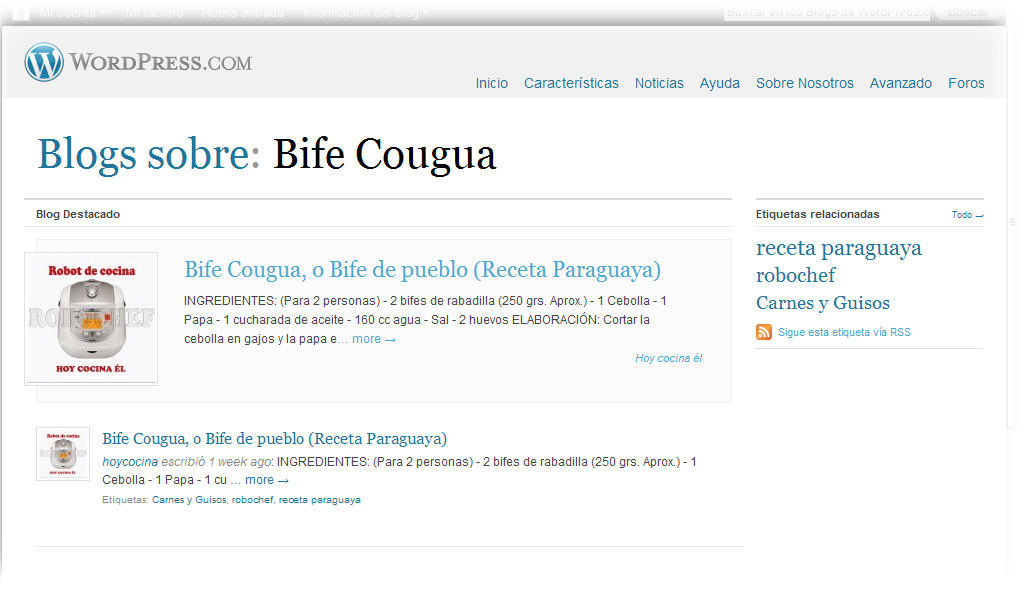Blog destacado en plataforma wordpress hoy cocina l for Blog cocina wordpress
